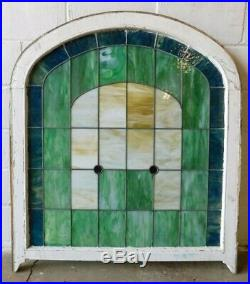 1800's Leaded STAINED GLASS Church Window VICTORIAN Style Arch Top ORNATE
