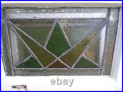 1870s AMERICAN LEADED STAINED GLASS WINDOW Simple Geometric Design 20x 14.5