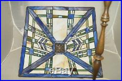 1920s 30s Leaded Stained Glass Shade RARE BRASS BASE Electric Table Lamp