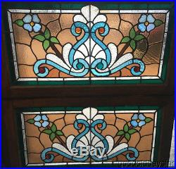 2 Antique 1890s Victorian Stained & Jeweled Leaded Glass Transom Windows 32 18