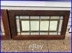2 Antique Chicago Arts & Crafts Stained Leaded Glass Transom Windows 33 x 18