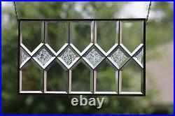 2 Available -Traditional Bevels Stained Glass Window Panel- 21 7/8x13