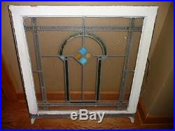 2 Set Antique 1920's Chicago Bungalow Stained Leaded Glass Windows 32 x 30 Pair