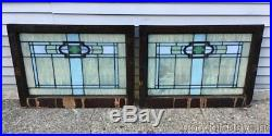 2 of 4 Antique Arts & Crafts Stained Leaded Glass Transom Windows 32 by 23