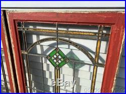 2 of 5 Antique 1920's Chicago Bungalow Style Stained Leaded Glass Windows 34x24