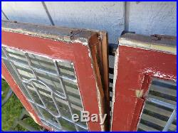 2 vintage antique small leaded glass windows