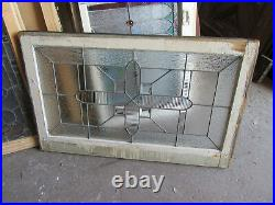 ANTIQUE AMERICAN STAINED GLASS WINDOW BEVELS 38 x 24 ARCHITECTURAL SALVAGE