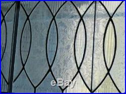 ANTIQUE American ELLIPTICAL TRANSOM LEADED (STAINED) WINDOW with textured glass