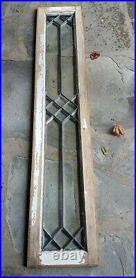 ANTIQUE BEVELED GLASS SIDELIGHT TRANSOM WINDOW, early 1900s, set in zinc