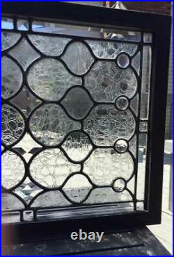 ANTIQUE BEVELED, LEADED (STAINED) GLASS WINDOW TRANSOM With JEWELS