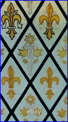 ANTIQUE GOTHIC STAINED GLASS CHURCH WINDOW, FLEUR DE LIS ORCHIDS 1800s NYC AREA