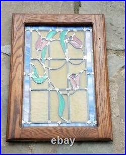 ANTIQUE ORIGINAL STAINED LEADED GLASS WINDOW, FLOWERS, 1950s, NICE
