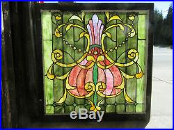 ANTIQUE STAINED GLASS LANDING WINDOW 29 JEWELS 40 x 41 SALVAGE