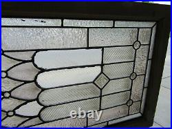 ANTIQUE STAINED GLASS TRANSOM WINDOW 11 JEWELS 50 x 23 ARCHITECTURAL SALVAGE