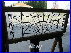 ANTIQUE STAINED GLASS TRANSOM WINDOW 1 OF 2 47 x 19 ARCHITECTURAL SALVAGE