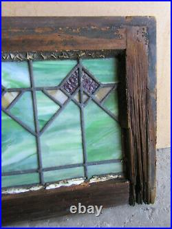 ANTIQUE STAINED GLASS TRANSOM WINDOW 26 x 12 ARCHITECTURAL SALVAGE