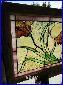 ANTIQUE STAINED GLASS TRANSOM WINDOW 41.75 x 23 ARCHITECTURAL SALVAGE