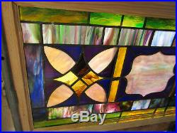 ANTIQUE STAINED GLASS TRANSOM WINDOW 45 x 23 ARCHITECTURAL SALVAGE