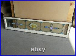 ANTIQUE STAINED GLASS TRANSOM WINDOW 66 x 15 ARCHITECTURAL SALVAGE