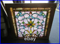 ANTIQUE STAINED GLASS WINDOW COLORFUL 34 x 32 ARCHITECTURAL SALVAGE