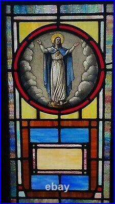 ANTIQUE STAINED GLASS WINDOW, ST. MARY'S ASSUMPTION, LATE 1800s