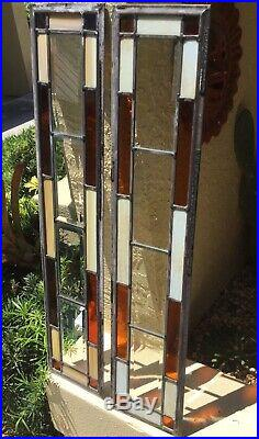 ANTIQUE pr ARTS & CRAFTS LEADED & BEVELED STAINED GLASS BUNGALOW WINDOW PANELS