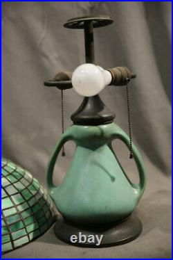 American Table Lamp Leaded Glass Bronze & Potery Ceramic Base Early 20th Century
