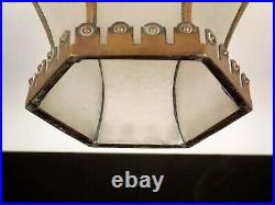 Antique 1890s Arts And Crafts Leaded Glass Bronze Brass Ceiling Light Fixture