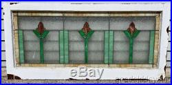 Antique 1920's Chicago Bungalow Stained Leaded Glass Transom Window 44 x 21