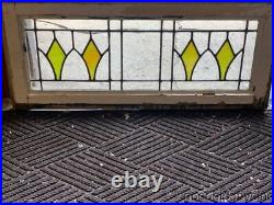 Antique 1920's Chicago Bungalow Style Stained Leaded Glass Transom Window