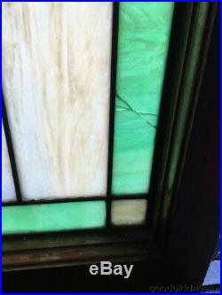 Antique 1920's Chicago Bungalow Style Stained Leaded Glass Window 24 3/8 x 20