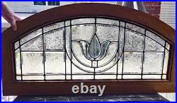 Antique ARCHED TRANSOM BEVELED (LEADED, STAINED) GLASS WINDOW