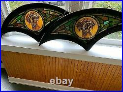 Antique American Stained Glass Pair Of Windows