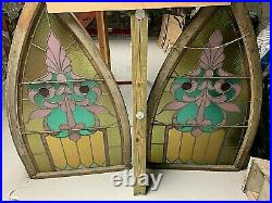 Antique American Stained Glass Window Original Pair