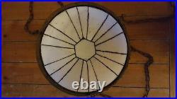 Antique Art Deco Leaded Inverted Dome Slag Glass & Copper Pendant Chandelier