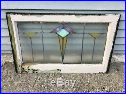 Antique Art Deco Stained Leaded Glass Transom Window 30 by 19 Circa 1925