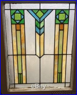 Antique Art Deco Stained Leaded Glass Window 31 by 24