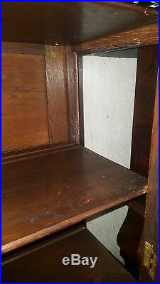 Antique Arts & Crafts Oak Leaded Glass Bookcase China Cabinet Stickley Style