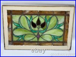 Antique Chicago Art Nouveau Stained Leaded Glass Transom Window 34 x 22