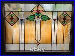 Antique Chicago Stained Leaded Glass Transom Window 32 x 25 Arts & Crafts
