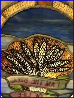 Antique Church Multi-colored Stained Glass Window I AM THE BREAD OF LIFE 24x25