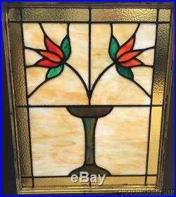 Antique Classic Chicago Bungalow Style Stained Leaded Glass Window 27 by 22