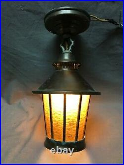 Antique Copper Leaded Stained Amber Textured Glass VTG Old Porch Tudor 71-21B