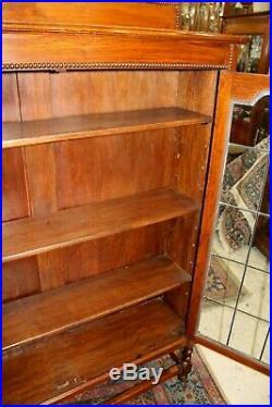 Antique English Barley Twist Oak 2 Leaded Glass Door Bookcase / Display Cabinet