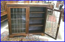 Antique English Dark Oak 2 Leaded Glass Door Bookcase / Display Cabinet