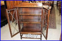 Antique English Jacobean Oak Leaded Glass 2 Door Bookcase / Display Cabinet