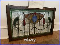 Antique English Stained Leaded Glass Arts & Crafts Transom Window, Early 19th