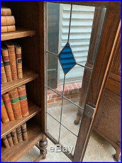Antique English Tiger Oak Bookcase Display Cabinet Blue Stained Leaded Glass