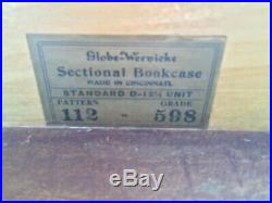 Antique Globe Wernicke Leaded Glass Bookcase Section Large Section Orig. Glass