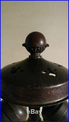 Antique Handel Lamp Base for Slag or Leaded Glass Shade 1909-10